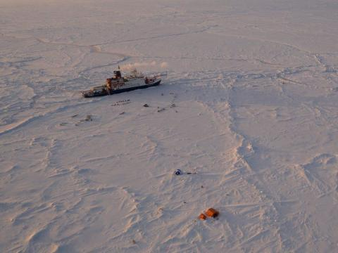 The Polarstern is stuck in Arctic ice.