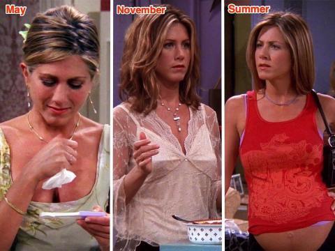 Rachel está embarazada de al menos un mes en mayo, pero no da a luz hasta el verano del año siguiente.