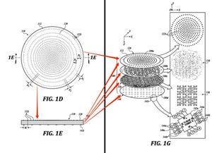 Solicitud de patente de SpaceX para un componente de la antena de la matriz. En la figura 1D se muestra la parte superior de la antena; en la figura 1E,  las capas del dispositivo desde un lado, y en la figura 1G, un diagrama del despiece en 3D