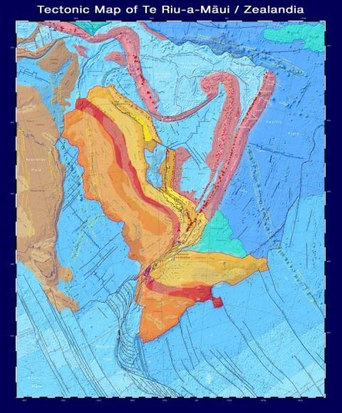 Un mapa tectónico de Zealandia, que muestra los tipos y la edad de la corteza, las fallas principales y los volcanes que conforman el continente.
