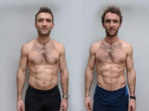 The Turner twins, Hugo, left, and Ross, before comparing a vegan diet with an omnivorous diet in a 12-week experiment.