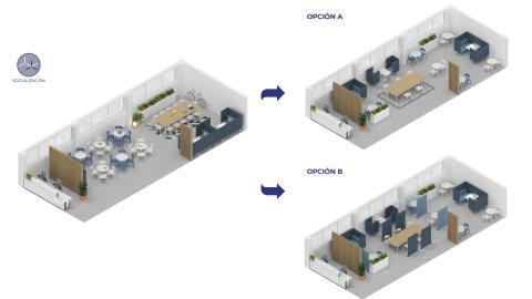 Zonas comunes en oficinas tras el coronavirus.
