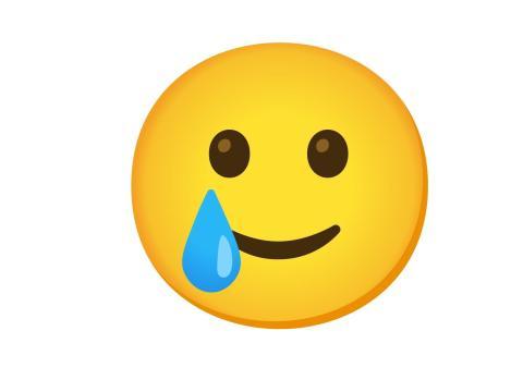 Cara sonriente con lágrimas.