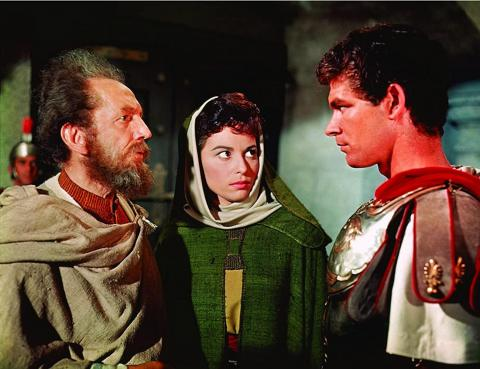 "Stephen Boyd, Haya Harareet y Sam Jaffe aparecen en ""Ben-Hur""."