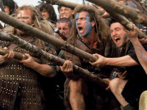 "Mel Gibson protagonizó ""Braveheart""."