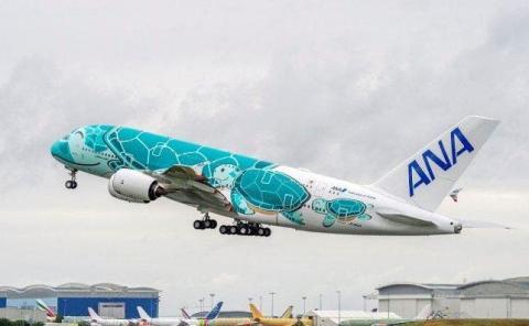 El A380 con la tortuga verde ya realizó su vuelo de mantenimiento en julio.