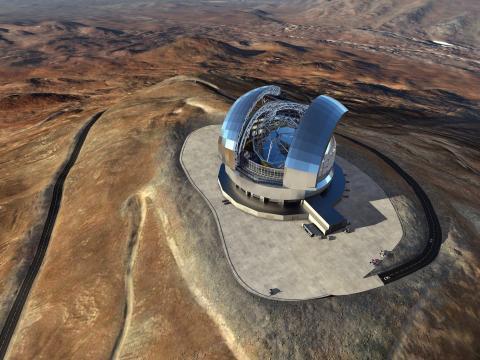Una representación artística del Telescopio Extremadamente Grande (ELT) en el Cerro Armazones en el norte de Chile.