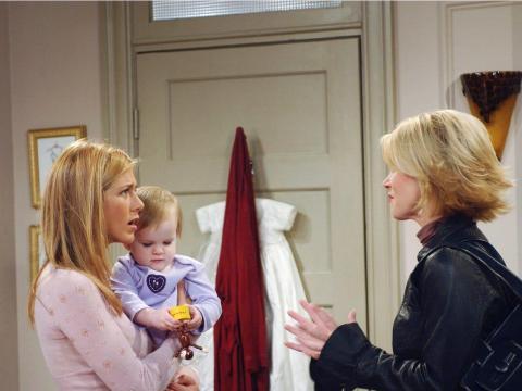 En el set con Jennifer Aniston y la estrella invitada Christina Applegate.