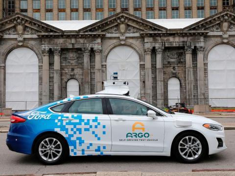 Un coche de pruebas Ford Argo AI en Detroit en 2019.