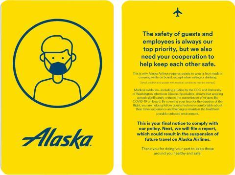 La compañía Alaska Airlines saca tarjeta amarilla a los pasajeros que no lleven mascarilla