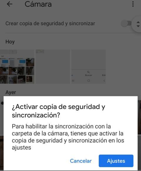 Copia de seguridad en Google Fotos