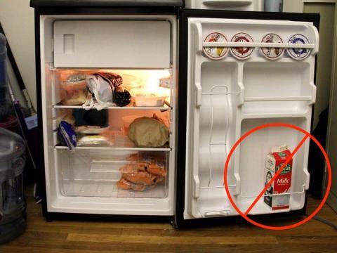 Don't store milk in the door of the fridge.