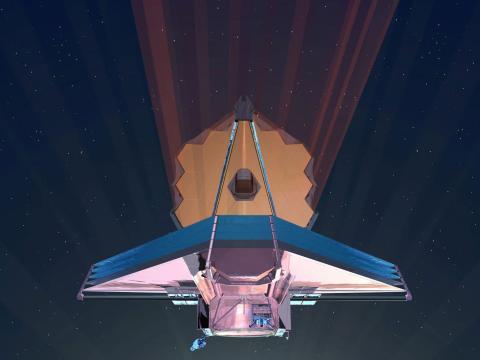 Una ilustración del Telescopio Espacial James Webb detectando luz infrarroja en el espacio.