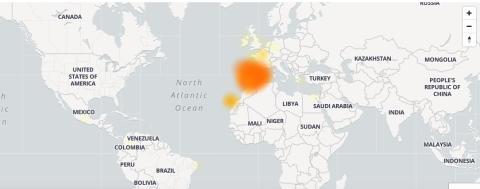 Mapa de la caída de Instagram.