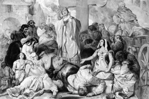 Personas rezando para aliviar la peste bubónica, hacia 1350.