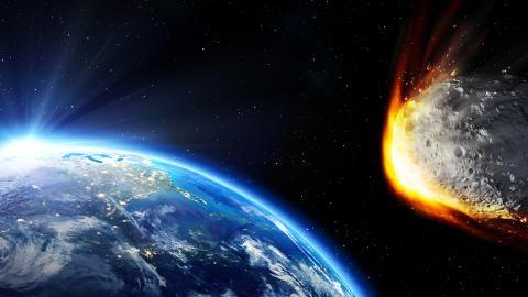 Una recreación de un asteroide acercándose a la Tierra