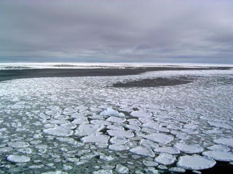 Hielo marino en el océano que rodea el Mar de Ross en 2017.