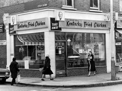 Un Kentucky Fried Chicken en Londres, 24 de abril de 1975.