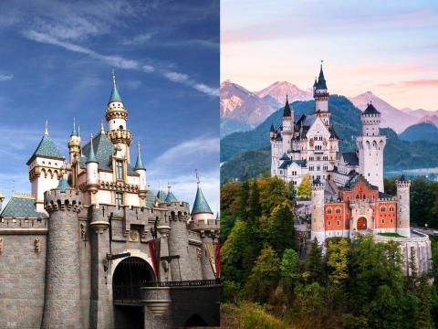 Castillo de la Bella Durmiente de Disneyland en Anaheim, California (izquierda) y Castillo de Neuschwanstein en Schwangau, Alemania (derecha).