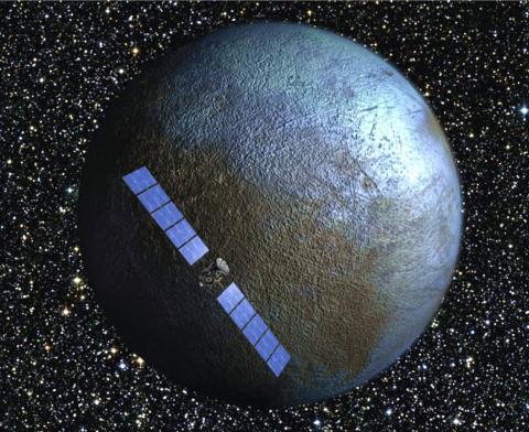 La representación de un artista muestra la nave espacial Dawn volando más allá de Ceres