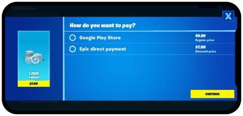 Más allá de eliminar a Apple y Google, Epic incentivó a los compradores a pagar directamente cobrando un 30% menos por la misma cantidad de moneda en el juego.