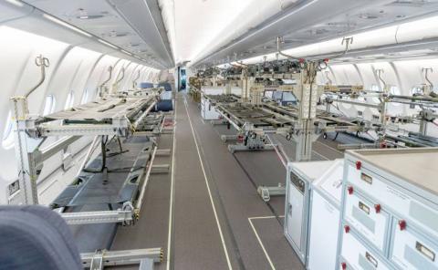 Las cabinas de los A330 y A340 pueden llevar una veintena de camillas