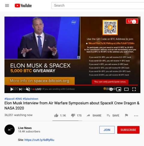 Canal de YouTube hackeado.