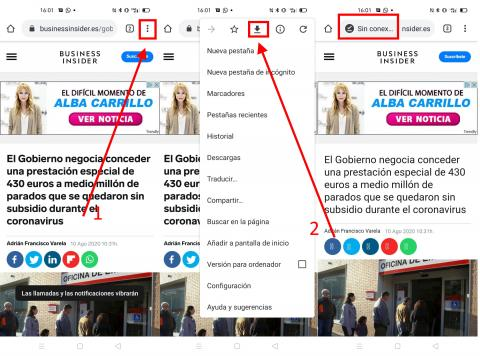 Como usar el modo sin conexion en Google Chrome en Android