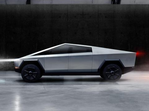 The Cybertruck, Tesla's first electric pickup truck, is seen in this undated handout picture released by the company Reuters
