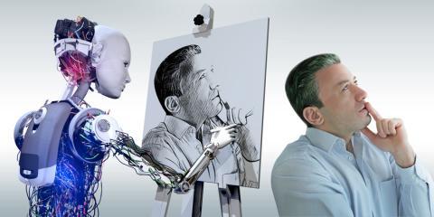 Un cyborg dibuja un retrato.