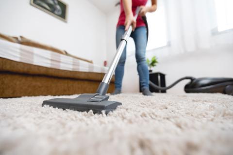 Limpiando la alfombra.