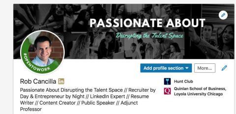 Marco de fotos de perfil abierto al trabajo de LinkedIn.