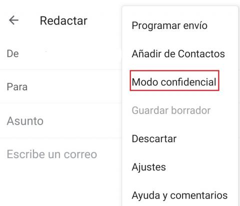 Modo confidencial Gmail