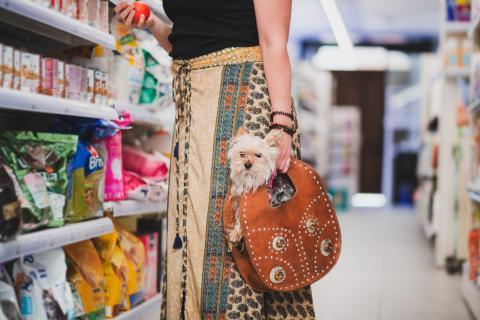 Mujer compra comida para mascota en el supermercado con un perro.