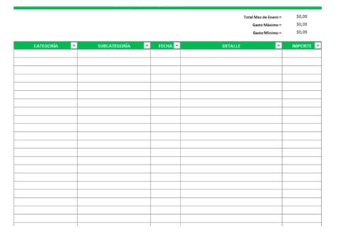 Plantilla de Excel de control de gastos.