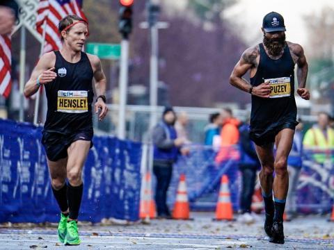 Puzey durante la Maratón Internacional de California 2019.