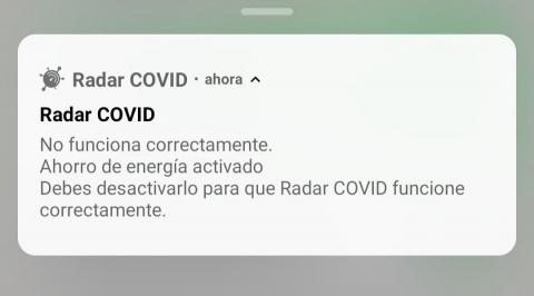 Notificación con un problema de RadarCOVID.