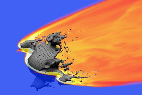 Una simulación de un asteroide de 20 metros de ancho que se quema en la atmósfera de la Tierra.