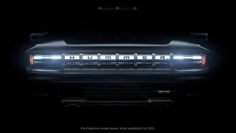 The teaser photo for the new GMC Hummer. GMC