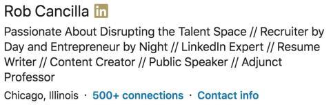 Titular del LinkedIn de Rob Cancilla.
