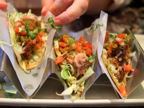 Frozen seafood can be used to make tacos.