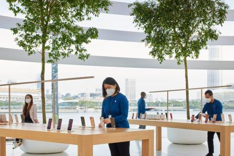 The Apple Face Mask (not pictured) was created for the company's retail employees Apple