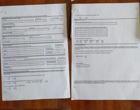 Cuestionario tipo en aviones de COVID-19