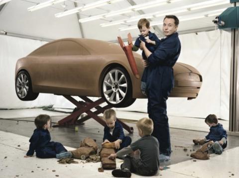 Elon Musk con sus 5 primeros hijos.