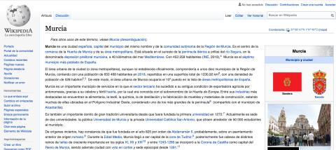 La entrada de Murcia en Wikipedia fue una de las editadas para el estudio.