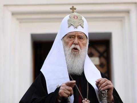 The honorable patriarch of the Orthodox Church of Ukraine, Filaret, after a meeting of the Synod in Kiev, Ukraine on Friday, May 24, 2019. Danil Shamkin/NurPhoto via Getty Images