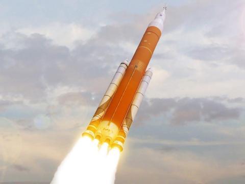 Una ilustración del Sistema de lanzamiento espacial de la NASA lanzándose hacia el espacio.