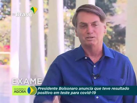 Jair Bolsonaro removed his mask after announcing he had tested positive for coronavirus in a TV broadcast, on July 8, 2020. TV Brasil