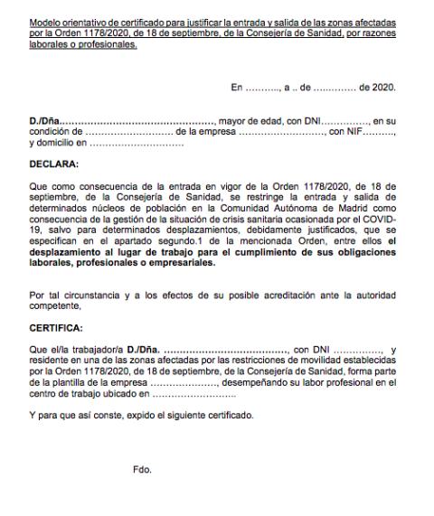 Justificante para desplazamiento de trabajo en Madrid