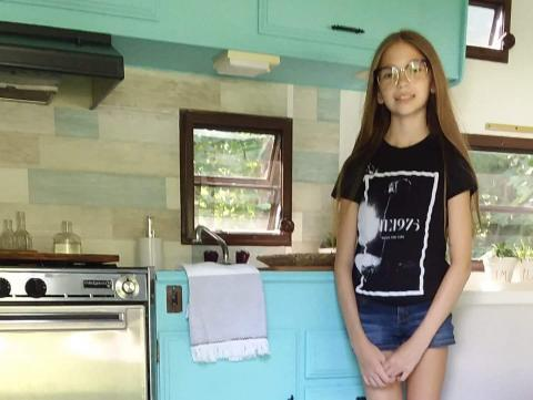 Lauren in the renovated camper. Courtesy of Aimee Nelson